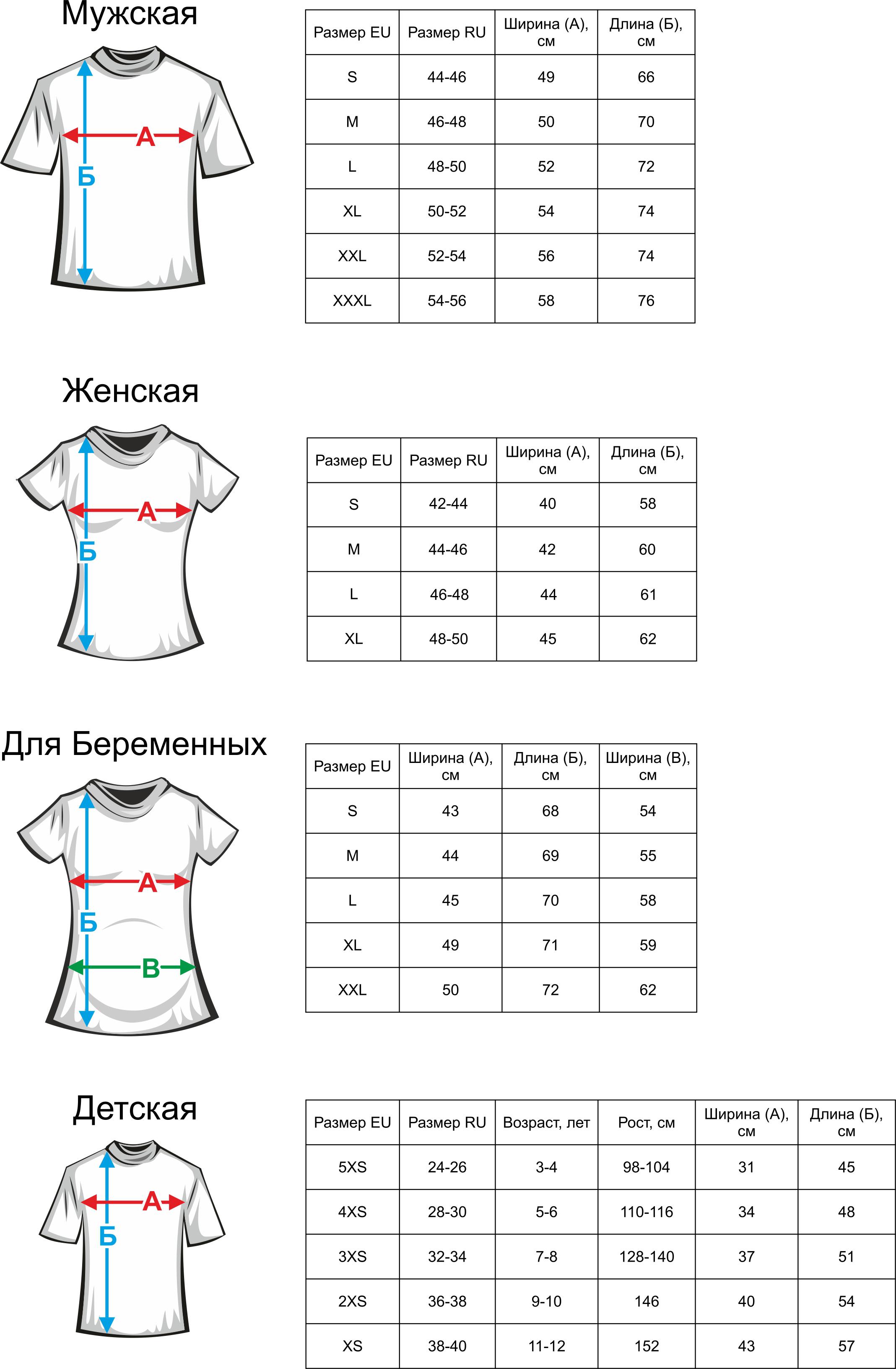 таблица размеров футболок